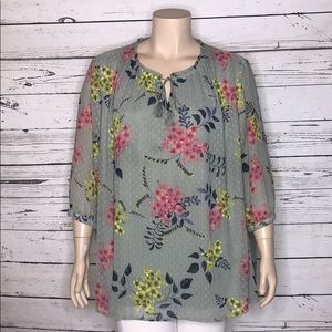Catherines 3X 26/28W Swiss Dot Peasant Blouse